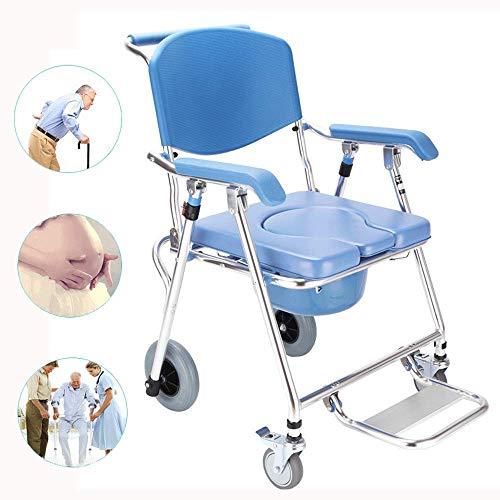 BYYD Deluxe Toilettenstuhl mit Rollen, gepolsterter Badesessel für Senioren, behinderte und behinderte Benutzer, WC für Nachttisch, Badezimmer, mobiler Nachttisch -
