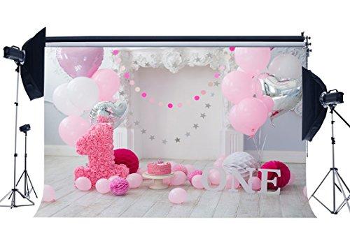 Sunny Star, 5x 0,9m Hintergrund zum 1. Geburtstag, für Mädchen, Baby, mit Hintergrund aus Holz, gestreift, Papier-Blumen, Dekoration, Fotografie-Hintergrund, für Fotostudio-Set HL08 (Fotografie-hintergrund-papier)