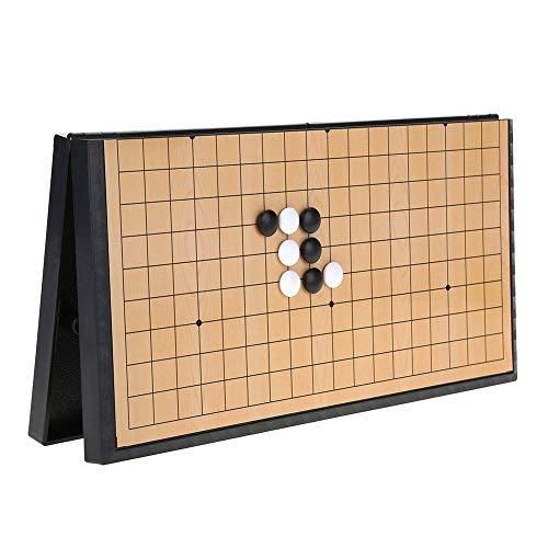 Alomejor Go Schach Brettspiel Set mit magnetischen Kunststoffsteinen und Zusammenklappbaren Schachbrett Weiqi Lernspiele für Kinder