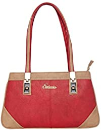 ESBEDA Red & Beige Solid PU Synthetic Handbag For Women