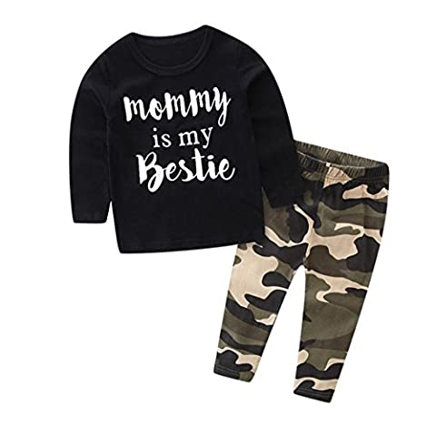 Kids Tshirt Tops & Pants, Transer® Baby Boys Girls Hoodie T-shirt & Shorts 0-24 Months Toddler Kids Tops & Trousers Clothes Newborn Infants Outfits Set (12-18 Months, Black (Long Sleeve))