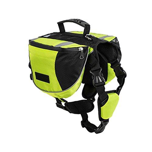 Yiiquanan Hund Rucksack Verstellbar Pack Mittelgroße & Large Hunderucksack für Wandern Camping Reise (Grün, Asia L)