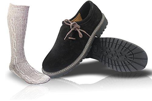 ALL THE GOOD Trachten Schwarz Schuhe + Trachtensocken Socken Haferlschuhe Almhaferl Trachtenschuhe SB01 (44)