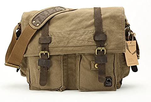 sulandy@ New Style Vintage Canvas Large Unisex Messenger Shoulder Small Bag Leather Trim School Military Shoulder Bag Messenger Bag