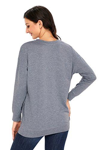 Dearlove, Damen-Sweatshirt, leger, langärmelig, für den Herbst, mit Tasche, weit geschnittenes Top, Größen: 34-50 Grau