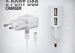 Huawei Ascend G630 Compatible Dvaio Charger - Dual USB, 2AMP AC Power Dvaio Charger - White