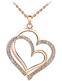 18K Rose Gold Plated Signature Of Love Heart Pendant With Chain For Modern Woman By AwesomeJi