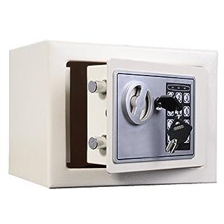 Digitaler Stahl-Safe mit Schlüssel und Code, elektronisch, 16 Liter, Größe: 250x 250x 350mm, weiß