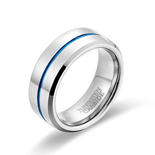 Mayanyan 8 mm Wolframstahl Herrenring Einfacher Blauer Titanring Abgestufter, abgeschrägter, komfortabler Ehering