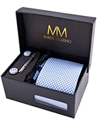 MASSI Morino Hombre Designer corbata – caja conjunto con pañuelo 55a69af15d2