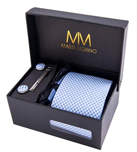 Massi Morino Corbata de diseño para hombre - Estuche con pañuelo, gemelos y clip de corbata, fabricación a mano con seda sintética de microfibra en varios colores con caja de regalo incluida