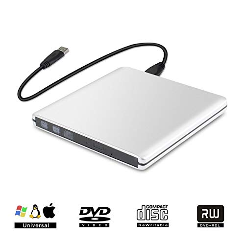 Graveur Lecteur CD DVD Externe DVD CD Lecteur Portable CD DVD +/-RW ROM Player USB 3.0 pour Windows 2003/Vista/XP/7/8/10/Linux Mac OS (Argenté (Alliage d'aluminium))