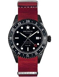 University Sports Press EX-DT-ZEB-42-NL-RE - Reloj de cuarzo unisex, correa de cuero color rojo