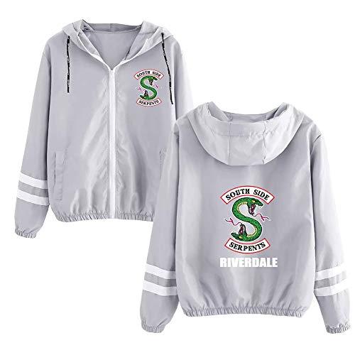 Haililais Riverdale Pullover Sweatshirts Frühling weiche populäre Elegante Art und Weise beiläufige lose Lange Hülsendruck Sweatshirtmantel (Color : Grey01, Size : M) Eine Art Sweatshirt