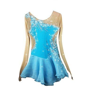Heart&M Handgefertigt Eiskunstlauf-Kleid für Mädchen Eislaufen Wettbewerb Kostüm Langärmeliges Rollschuhkleid Eislauf Kleider Blau, L