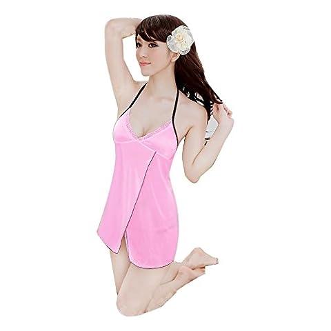 omiky® 1acrylique transparent fibres Lingerie Sexy Chemise de nuit, peignoir Sexy en maille filet pour femme, rose, Taille unique