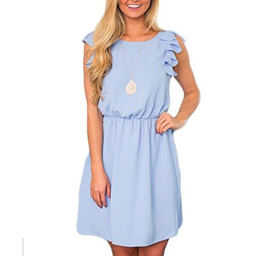 Damen Rundkragen ärmellos Volants Kleid Sommerkleid Partykleid Taille Elegant Kleid Minikleid Blau