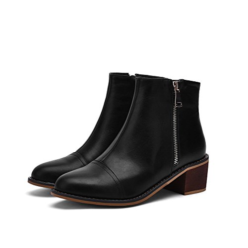 AgooLar Damen Rein PU Mittler Absatz Quadratisch Zehe Reißverschluss Stiefel, Schwarz-PU, 37
