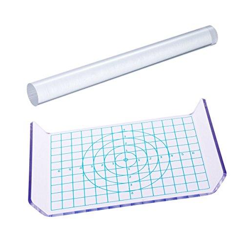 SGerste 2 Stück Clay Nudelholz Acryl Ton Roller Acryl Blech Board mit Gitter Essentielle Modellierwerkzeuge -