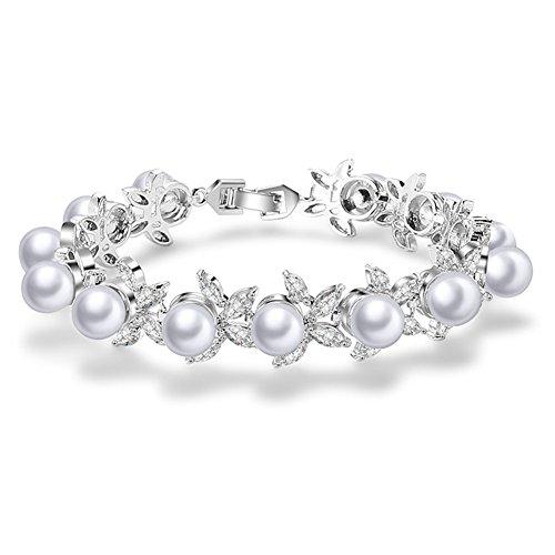 Jösva Damen Armbänder Silber Blumen Perlen Armband Armkette 18cm Kette mit Weiß Zirkonia 18K...