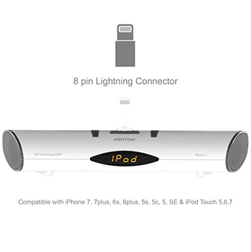 AZATOM iPunch 3 Bluetooth Lightning 8-Pin Docking Station for iPhone  X/8/8+/7+/7/6S+/6S/6/5S/5SE/5C/5 and iPod Touch 5G 6G  Compatible with  Android