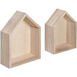 Cadres en Bois Rayher en Forme de Maison 62696000, FSC Mixte, 14x 10x 4cm + 12,5x 8,5