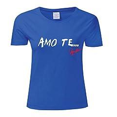 Idea Regalo - Art T-shirt, Maglietta Vasco Rossi Ti Amo, Donna, Blu, S