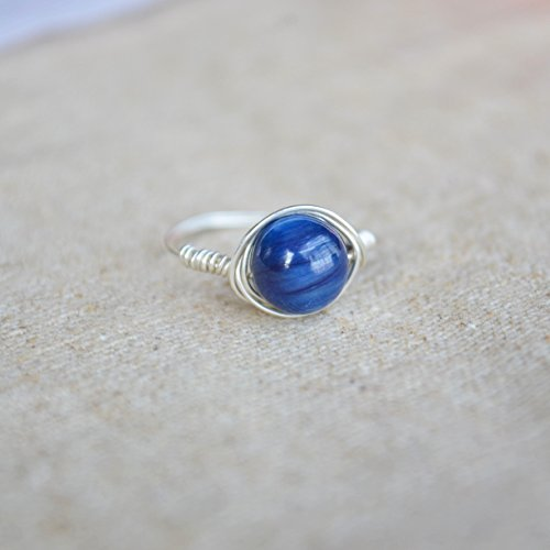 Kyanite pietra preziosa pietra naturale birthstone solitario 925 sterlina argento filo avvolto anelli