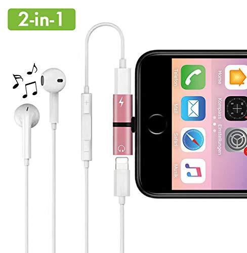 Daisyly 2-in-1 Dual Splitter Stecker | Musik hören und gleichzeitig Laden | kompatibel mit iPhone 7/8, 7/8 Plus, X/10, XS, XS Max, XR (roségold)
