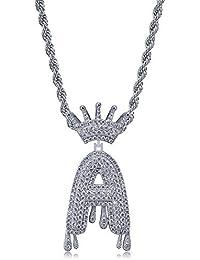 LC8 Jewelry Unisex Hip-Hop Mikro-Pavé-Simulierte Diamant, Iced Out Bling Glänzend Krone Initiale Tropfende Blase Buchstaben CZ Anhänger mit Kordelkette für Herren Damen