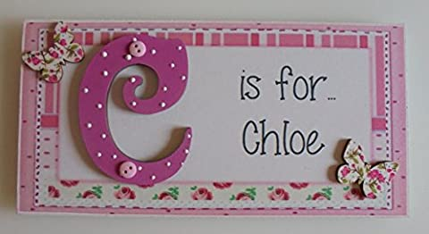 Personalised **ANY NAME & INITIAL Available** Butterfly & Roses Childrens Door Plaque Sign PINK TO ORDER ANY NAME: click on 'Select Options' and tell us your plaque name
