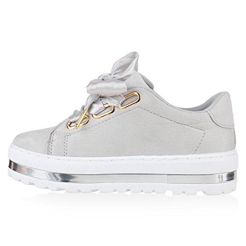 Damen Plateau Sneakers | Sneaker Metallic Cap | Lack Schuhe Blumen | Allyear Schuhe Velours Schleifen Grau Velours