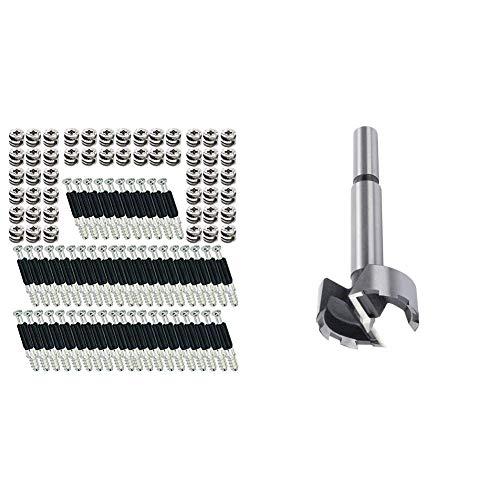 SECOTEC Hettich Exzenter Möbelverbinder Rastex 15; Material: Zinkdruckguss vernickelt Inhalt: 50 Stück & 1 Forstnerbohrer ø15x90mm