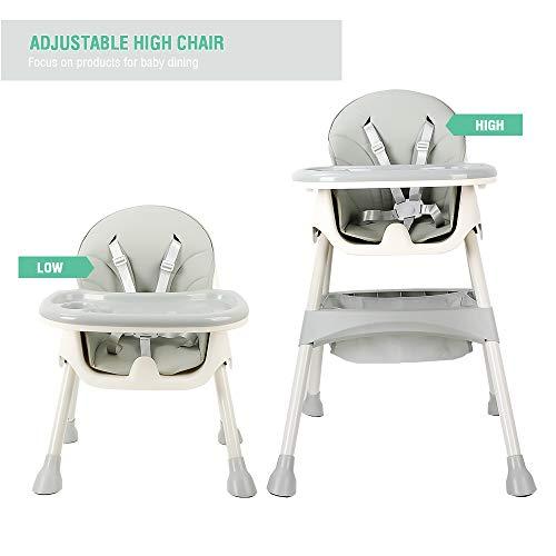 Mitwachsender Hochstuhl Baby, mit 5-Punkt-Sicherheitsgurte, Abnehmbares Tablett, höhenverstellbar, Klappbarer und tragbarer Hochstühle für Jungen und Mädchen (Azurblau)