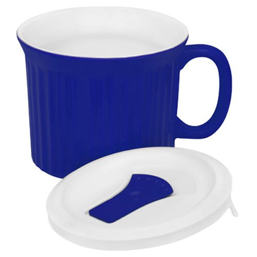 Corningware-becher (Corningware Pop-Ins 20-Ounce Mug with Blue Vented Plastic Cover, Blueberry by CorningWare)