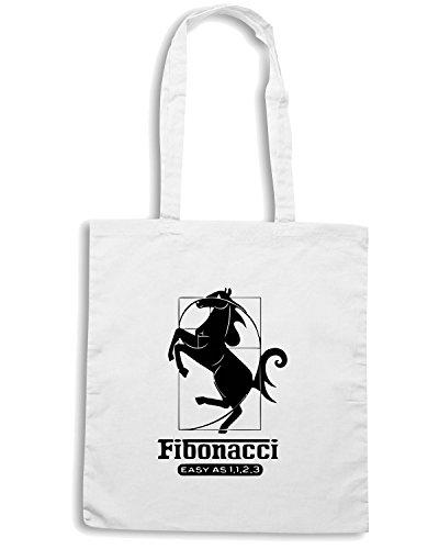 T-Shirtshock - Borsa Shopping FUN0094 04 24 2013 Fibonacci 1123 T SHIRT det Bianco