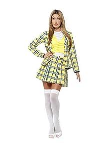 Disfraz oficial de Smiffy traje de mujer Cher (tamaño mediano, amarillo)