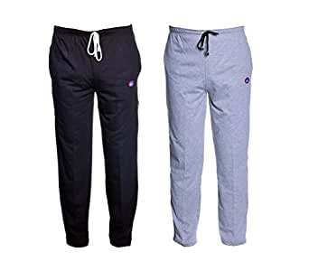 VIMAL Men's Grey and Black Cotton Trackpants (Pack of 2)