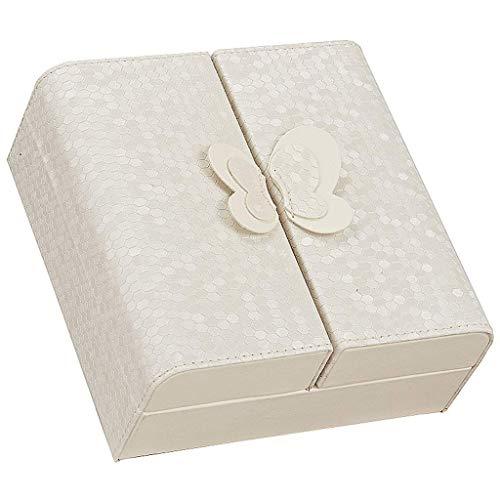 Wsjfc Creative Bow Design Leder Schmuckschatulle aus der Home Travel Finishing Box 5.9x5.9x2.6inches,Weiß -