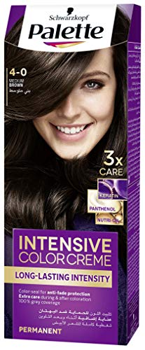 Schwarzkopf Palette Intensive Hair Colour Cream With Liquid Keratin - 4-0 Medium Brown 100 ML