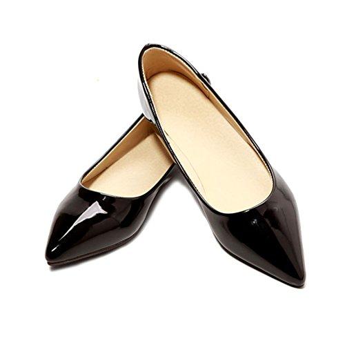Amurleopard Ballerines Femme Moccasins chaussures talon plat Noir
