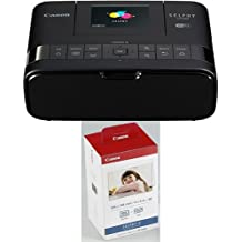 Canon Selphy CP1200 Stampante Fotografica Compatta, 300x300 dpi, Nero/Antracite + Canon KP-108IN Carta Fotografica, 108 fogli da 10x15 cm + Cartuccia Colore per Stampante Selphy