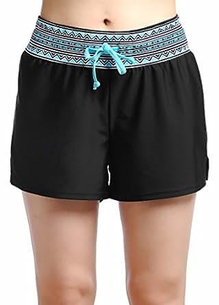 OUO Womens Swim Shorts Boy Leg Mini Bikini Shorts Printed Waist - Black