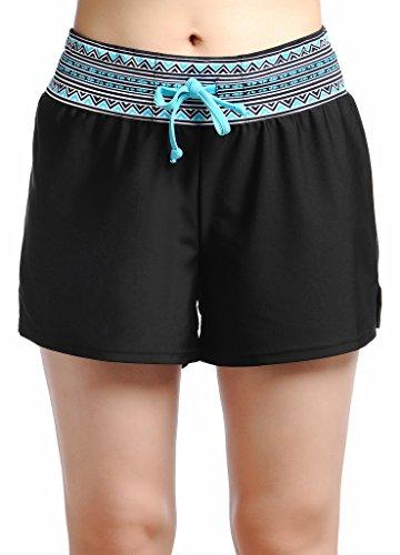 Damen UV Schutz Badeshorts Schwimmen Bikinihose Wassersport Schwimmshorts Boardshorts Schwarz mit Blau Größe M (Bademode Boardshorts)