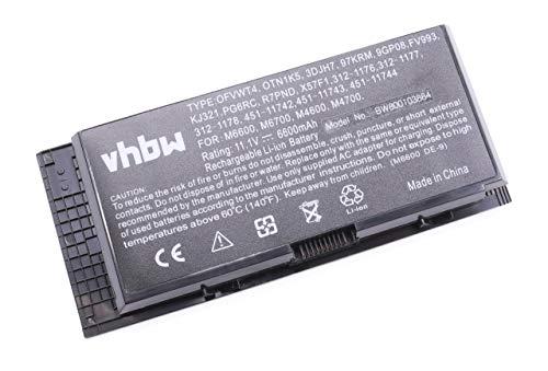 vhbw Batterie LI-ION 6600mAh 11.1V, Noir, pour Dell Precision M4600, Precision M4700, Precision M6600: Remplace 0TN1K5, FV993, PG6RC, R7PND