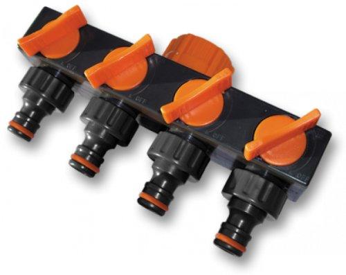 Bradas ECO-PWB3033 4-Fach Verteiler für Wasseranschluss, Schwarz, 10x5x5 cm -