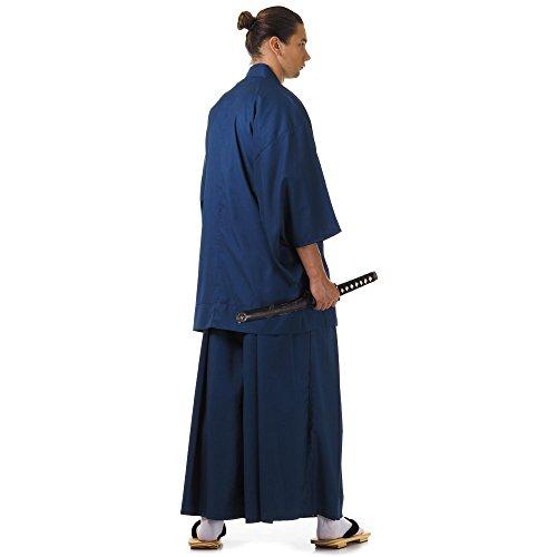 Japan Samurai Kimono Set 3 Teile Kendo Gi + Hakama + Haori Baumwolle M L XL (Blau & Weiß) - 3