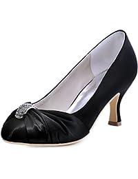 Elegantpark Women's Pumps Satin Rhinestones Closed Toe Mid Heel Wedding Party Dress Court Shoes