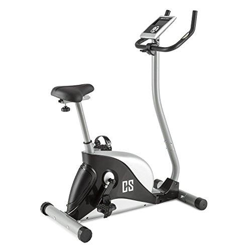 Capital Sports Cozzil Bicicleta estática cardiovascular (ordenador con programas de entrenamiento, sensores de pulso en manillar, pedales con correas) - plateada