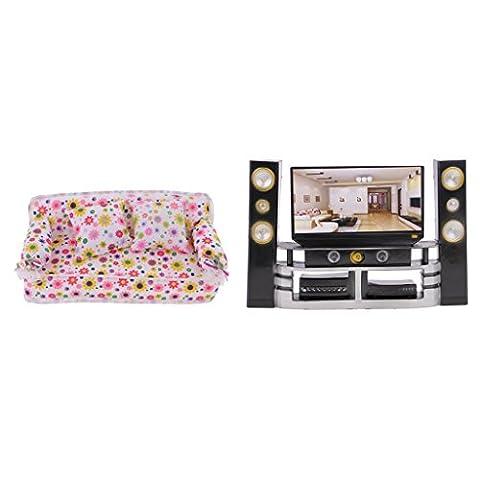 Sharplace Mobilier Maison de Poupée Miniature Hi-Fi TV Cabinet Lecteur Audio Canapé Décorations Accessoires pour 29cm Barbie Blythe
